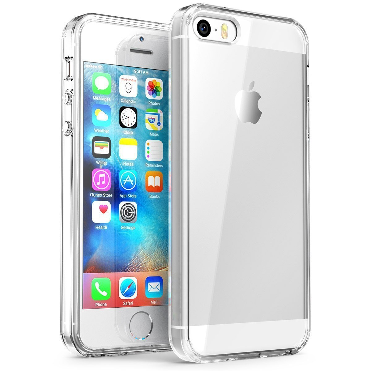 iPhone SE Case,Splaks® [Crystal Shell] Extra Shock-Absorb Clear back panel ,Extreme Lightweight Transparent Soft Flexible Silicone Rubber Anti-Scratch Protective Case For iPhone SE/5 SE/5/5S-Crystal Clear