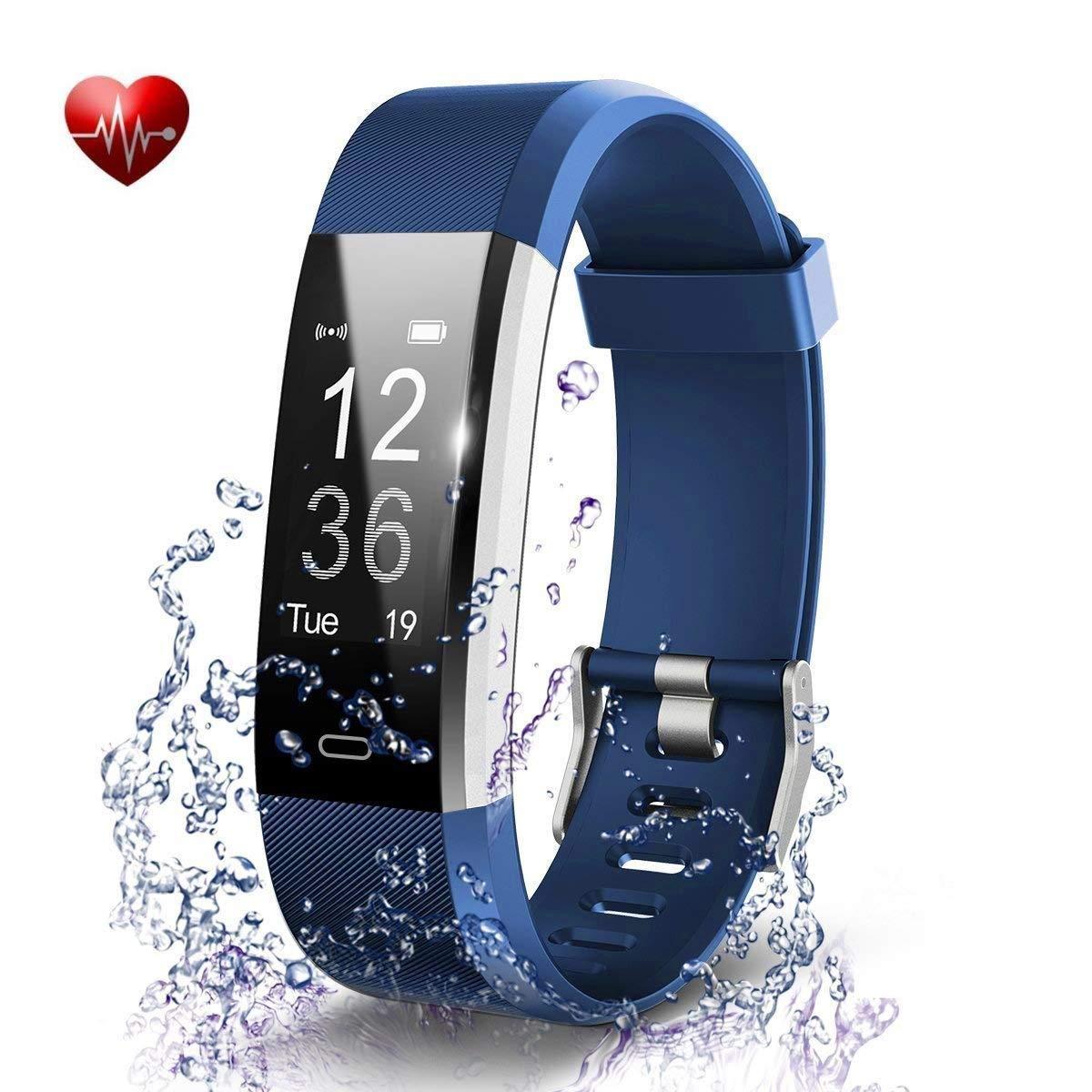 Antimi Fitness Armband, Wasserdicht IP67 Fitness Tracker, Pulsuhren, Schrittzä hler, Kamerasteuerung, Vibrationsalarm Anruf SMS Whatsapp Beachten kompatibel mit iPhone Android Handy Schwarz