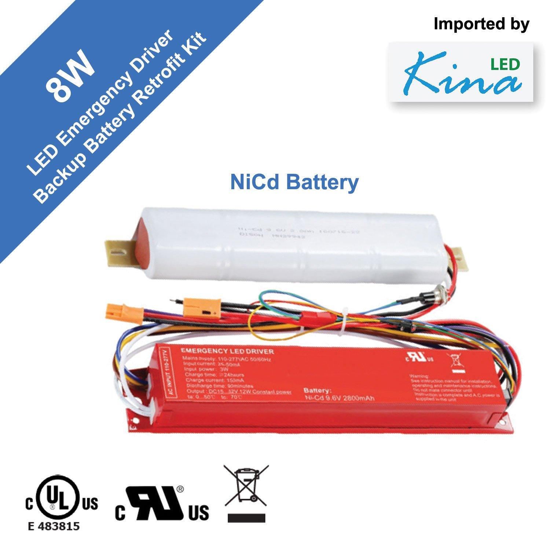 LED Emergency Lighting Driver Ballast by Kina LED - Backup Battery Pack Retrofit Kit, UL, Input: 120/277V, Output: 8W 12/48V, 90 Minute Back-up ($147 for 3PC) by Kina LED