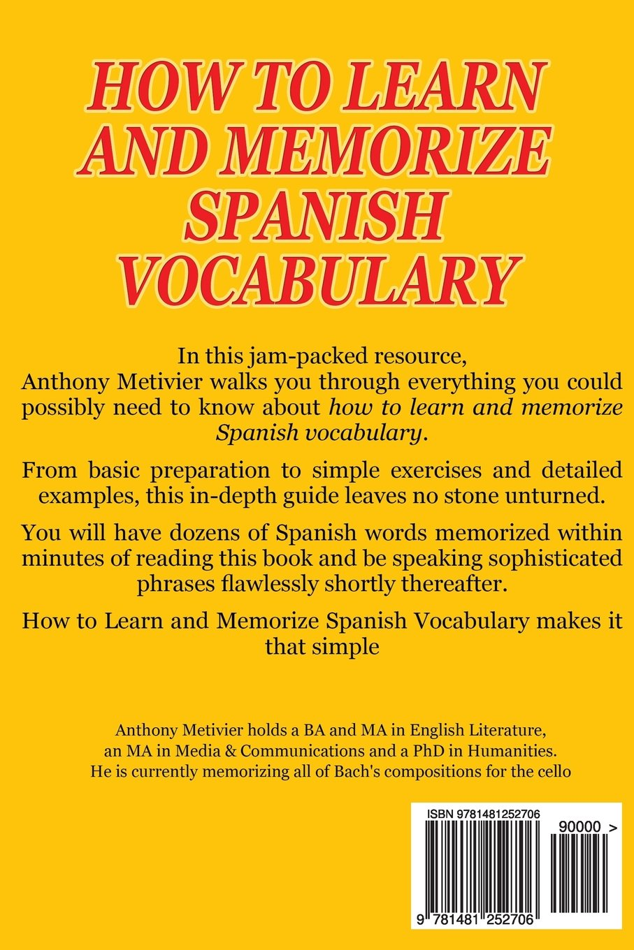 How To Learn And Memorize Spanish Vocabulary (spanish Edition): Anthony  Metivier: 9781481252706: Amazon: Books