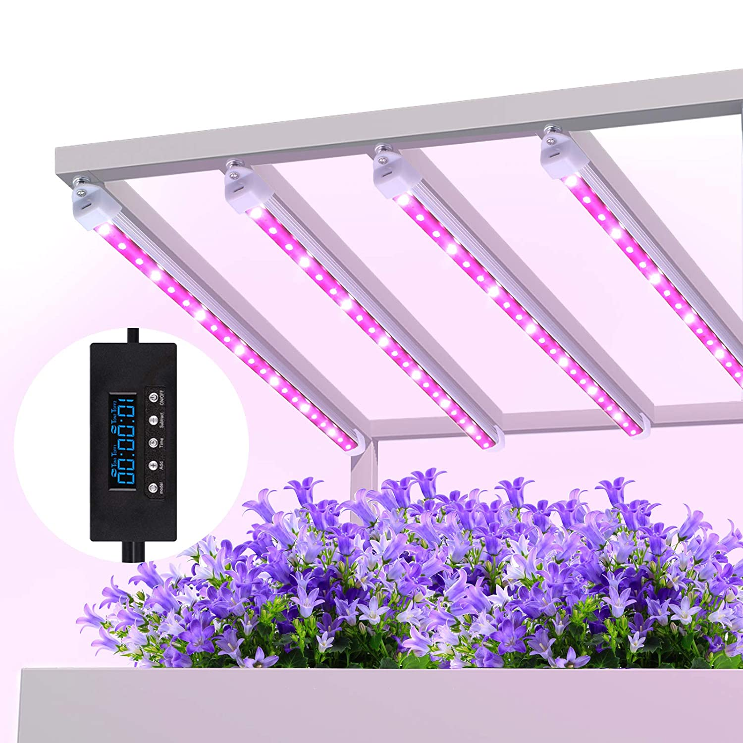 Grow lights 42W LED Plant Light Strips, MIXC 2019 Upgraded Version Growing Lamp with Timer 24 hours Cycling 5 Dimmable Levels Red Yellow Full Spectrum for Plants Succulent Seedling with Gifts 4-Pack