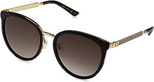 Gucci Design Sunglasses GG0077SK 001 Black Frame Gold Frame With Grey Lens