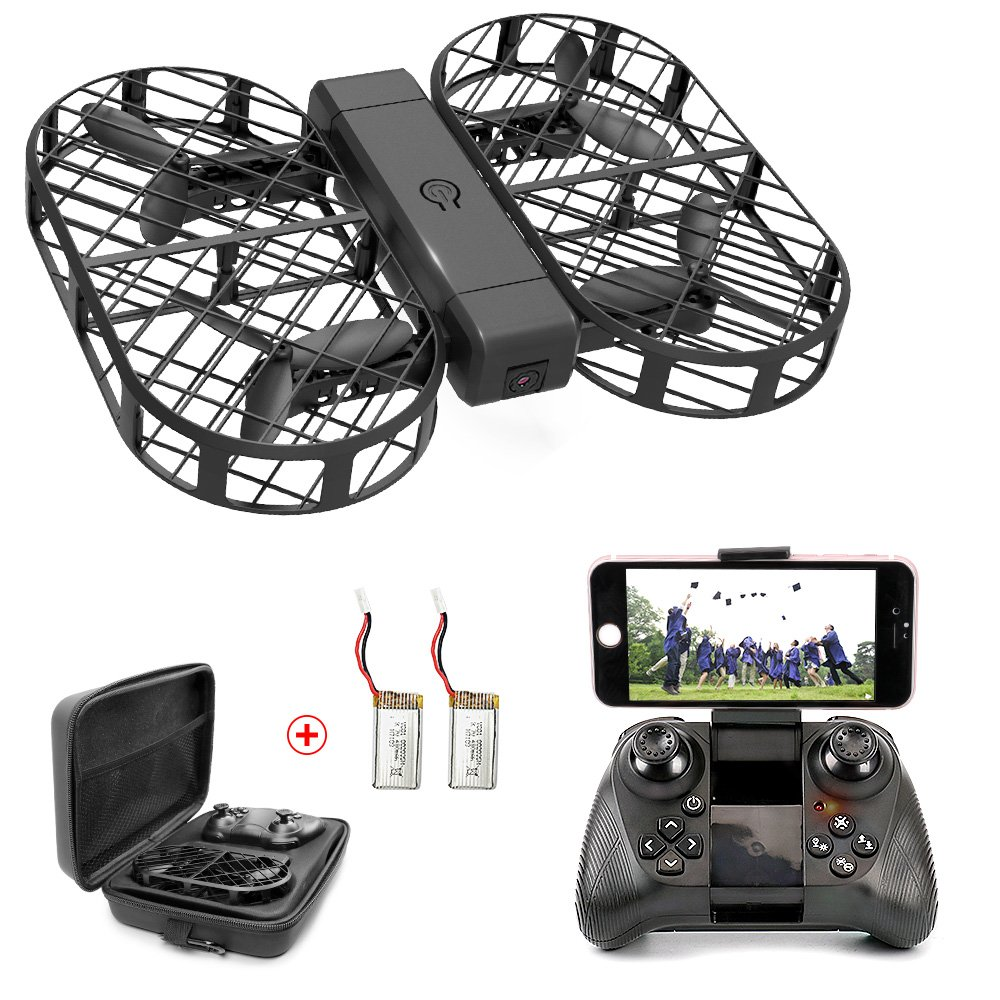 DWI Dowellin Drones with 720P HD Camera WiFi FPV Foldable Drone with Altitude Hold and One Key Take Off Landing RC Quadcopter with 2 pcs 3.7V 380mAh Lipo Batteries D7 Black