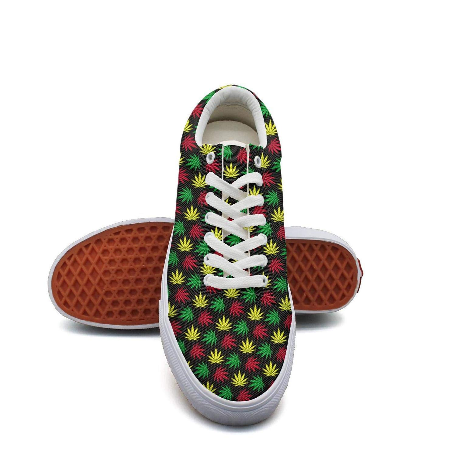Opr7 Colorful Cannabis Plants Women Lace-Up Skate Shoes Canvas Upper Loafer Rubber Sole