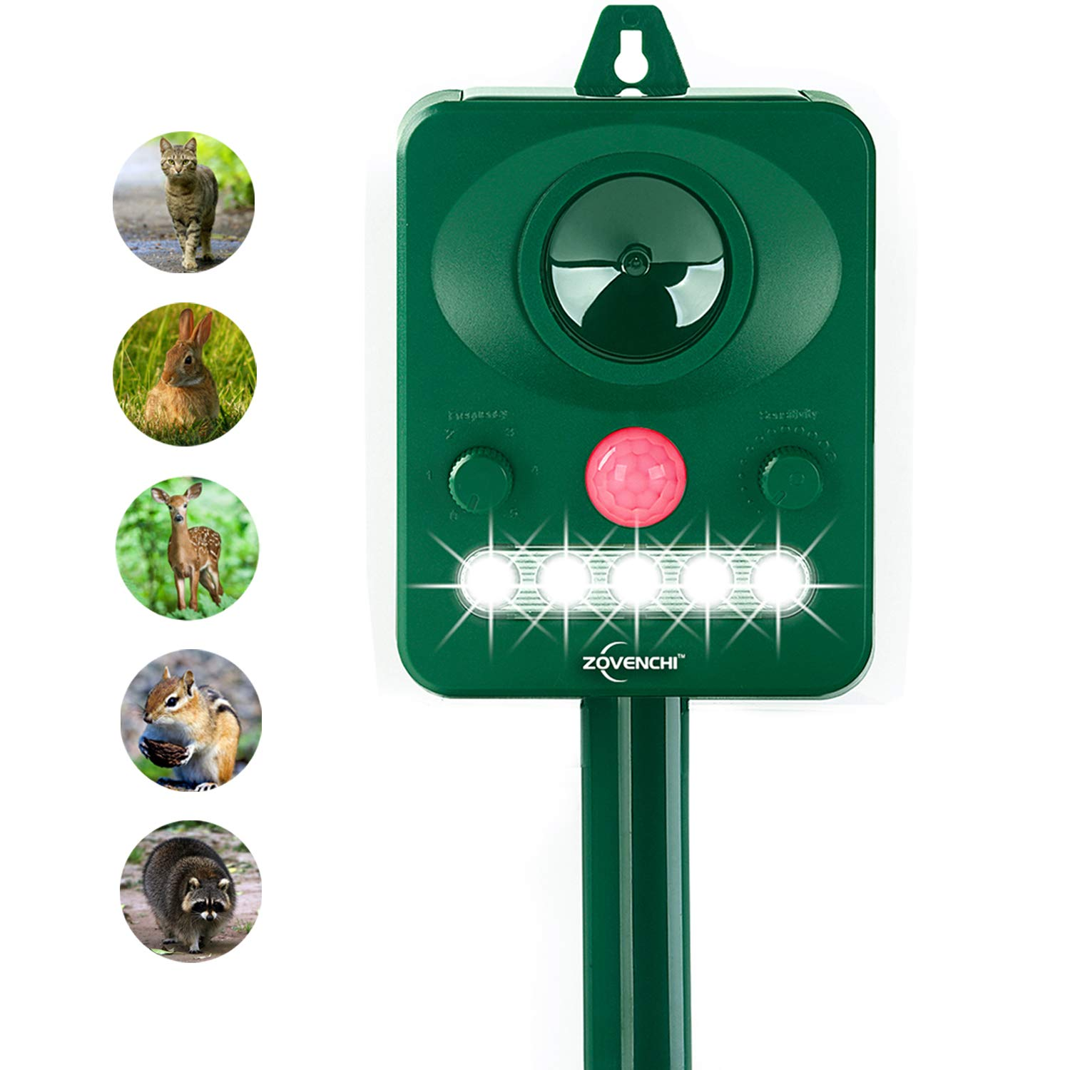 ZOVENCHI Ultrasonic Animal Pest Repellent, Solar Powered Animal Repeller, Motion Activated Flashing LED Light Ultrasonic Sound to Repel Animal Away