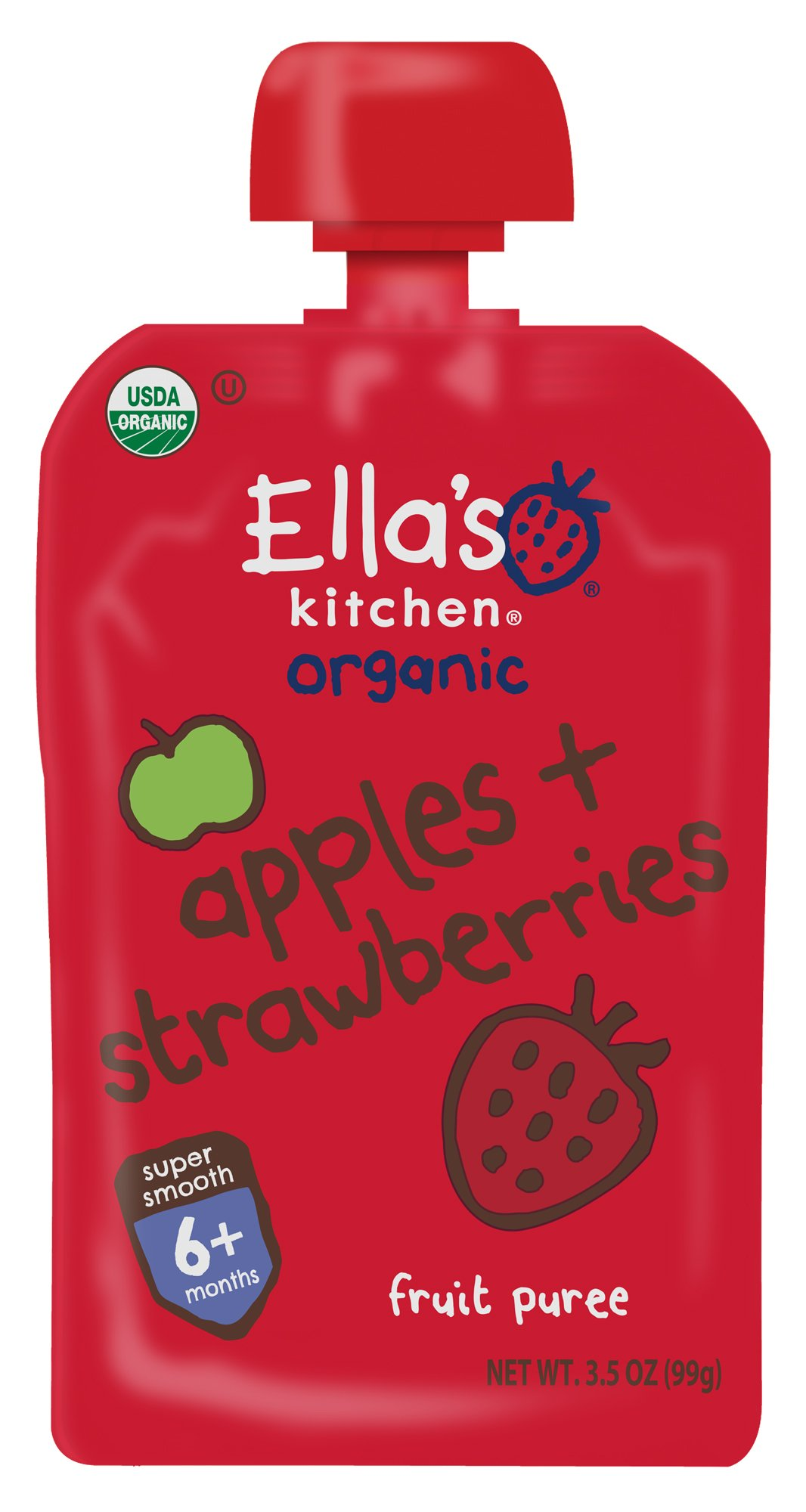 Ella's Kitchen 6+ Months Organic Baby Food, Apples + Strawberries, 3.5 oz. (Pack of 6)