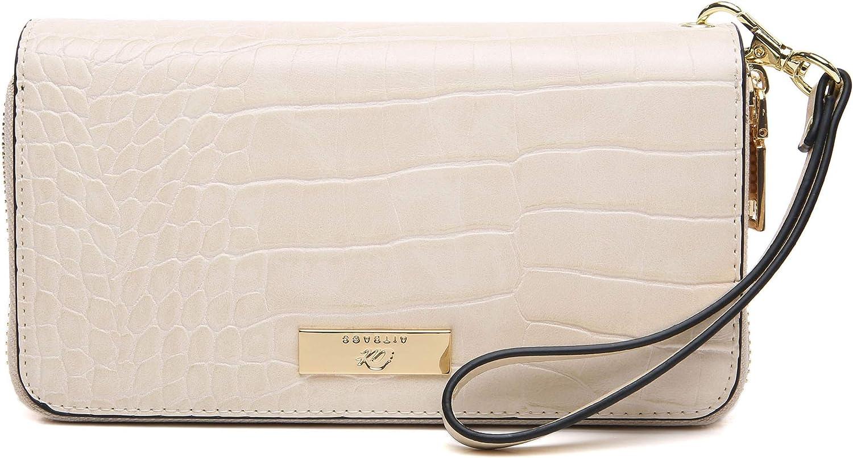 Aitbags Women RFID Double Zipper Wallet Leather Clutch Long Purse with Wristlet