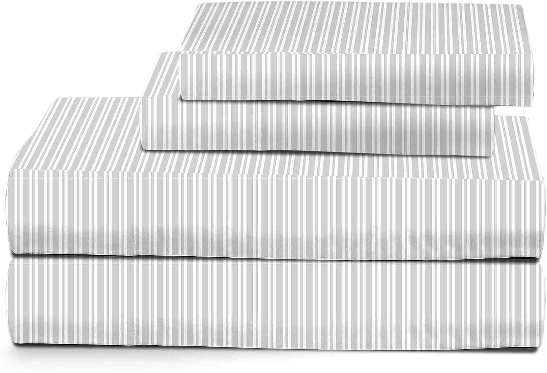 Grey American Kids Ticking Stripe Sheet Set Full