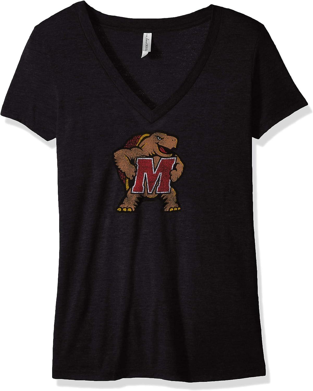 NCAA Maryland Terrapins Womens Tri Blend Deep V Short Sleeve Tee Vintage Black 2X
