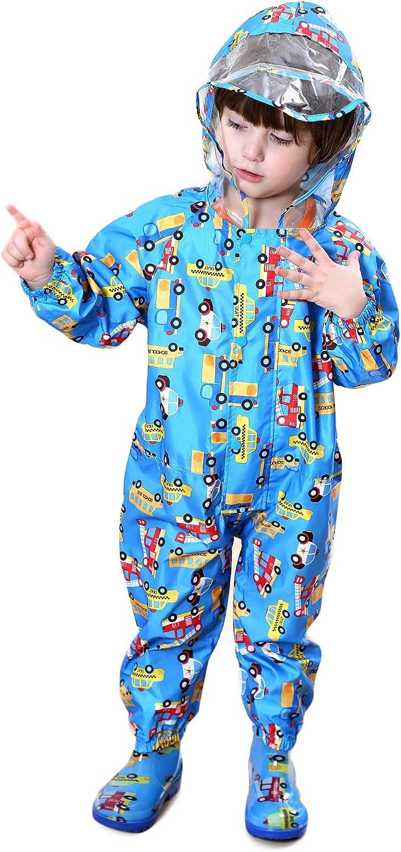 TURMIN Kinder Regenjacke mit Kapuze Wasserdicht Einteilig Regenmantel Atmungsaktiv Regenbekleidung f/ür Jungen M/ädchen