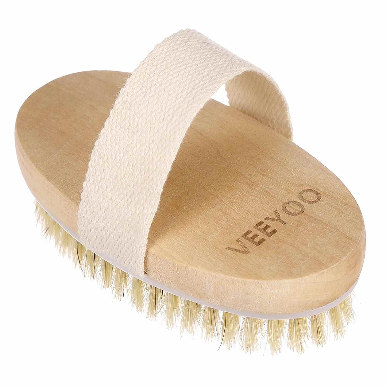Veeyoo Cepillo corporal exfoliante para piel seca y húmeda, hecho con cerdas naturales y correa de algodón, elimina las células de piel muerta mientras reduce la celulitis y toxinas, color multicolor