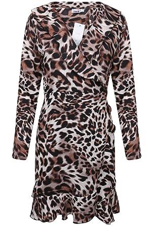 befbf3ef1f John Zack Women s Long Sleeved Wrap Frill Mini Dress - Animal Print (14 (EU