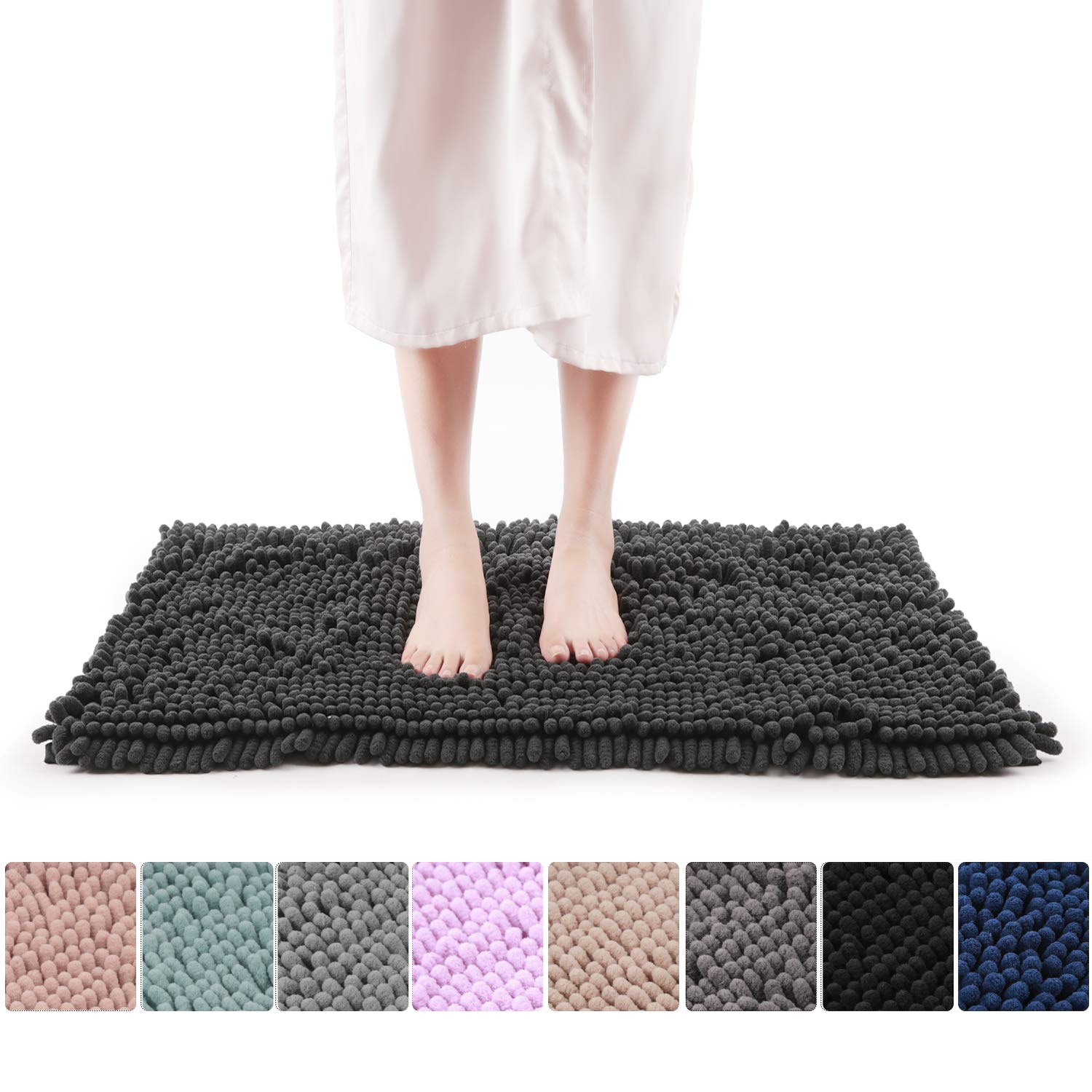 Freshmint Chenille Bath Rugs Extra Soft and Absorbent Microfiber Shag Rug, Non-Slip Runner Carpet for Tub Bathroom Shower Mat, Machine-Washable Durable Thick Area Rugs (16.5'' x 24'', Black) by Freshmint