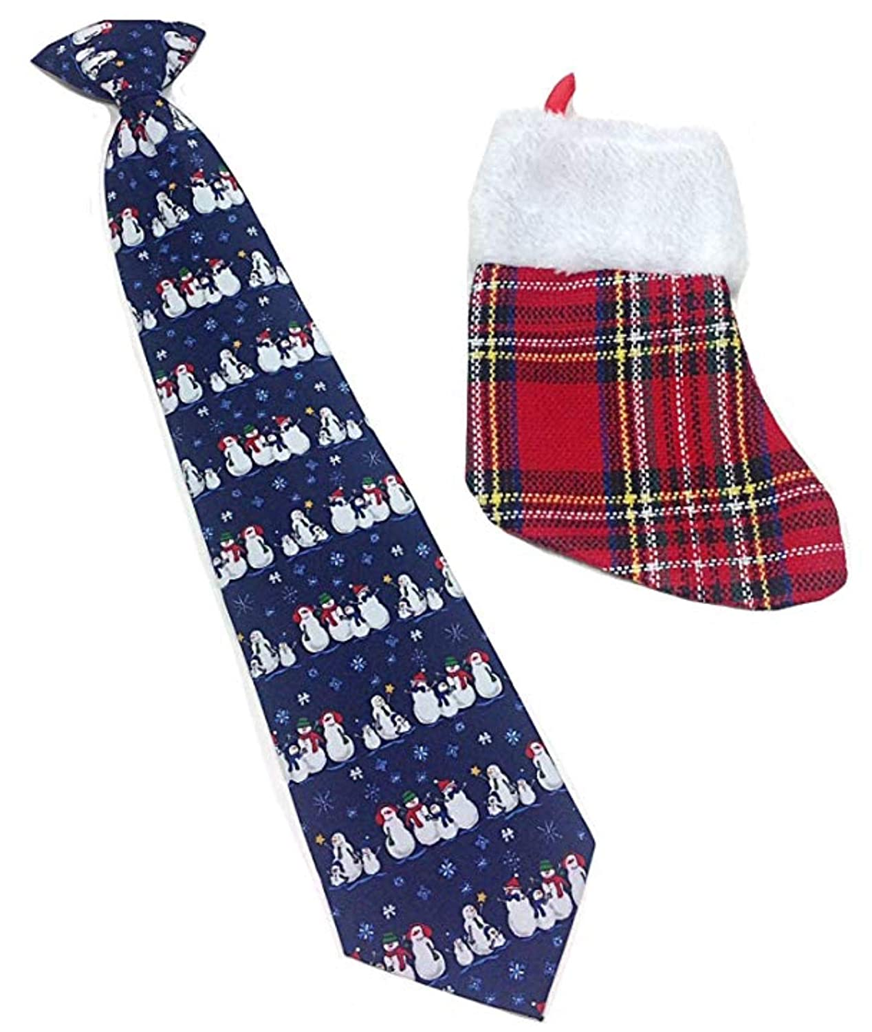 Boys Snowman Christmas Novelty Necktie & Gift Stocking - Navy Blue