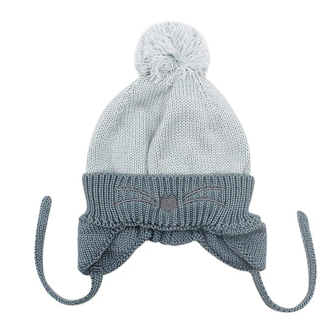 Amazon.com  Baby Girls Boys Toddler Winter Earflap Beanie Pompom Knit Hats   Clothing 8311c6d08cb3