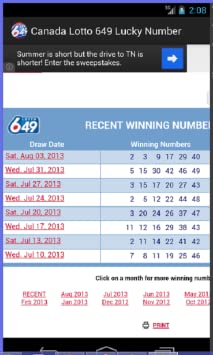Canada Lotto 6/49 Lucky Numbers and Lottery Results (no advertisements )