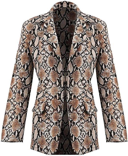 Men Leopard Print Notch Neck V Neck Suit Slim Jacket Party Cocktail Costume Tops