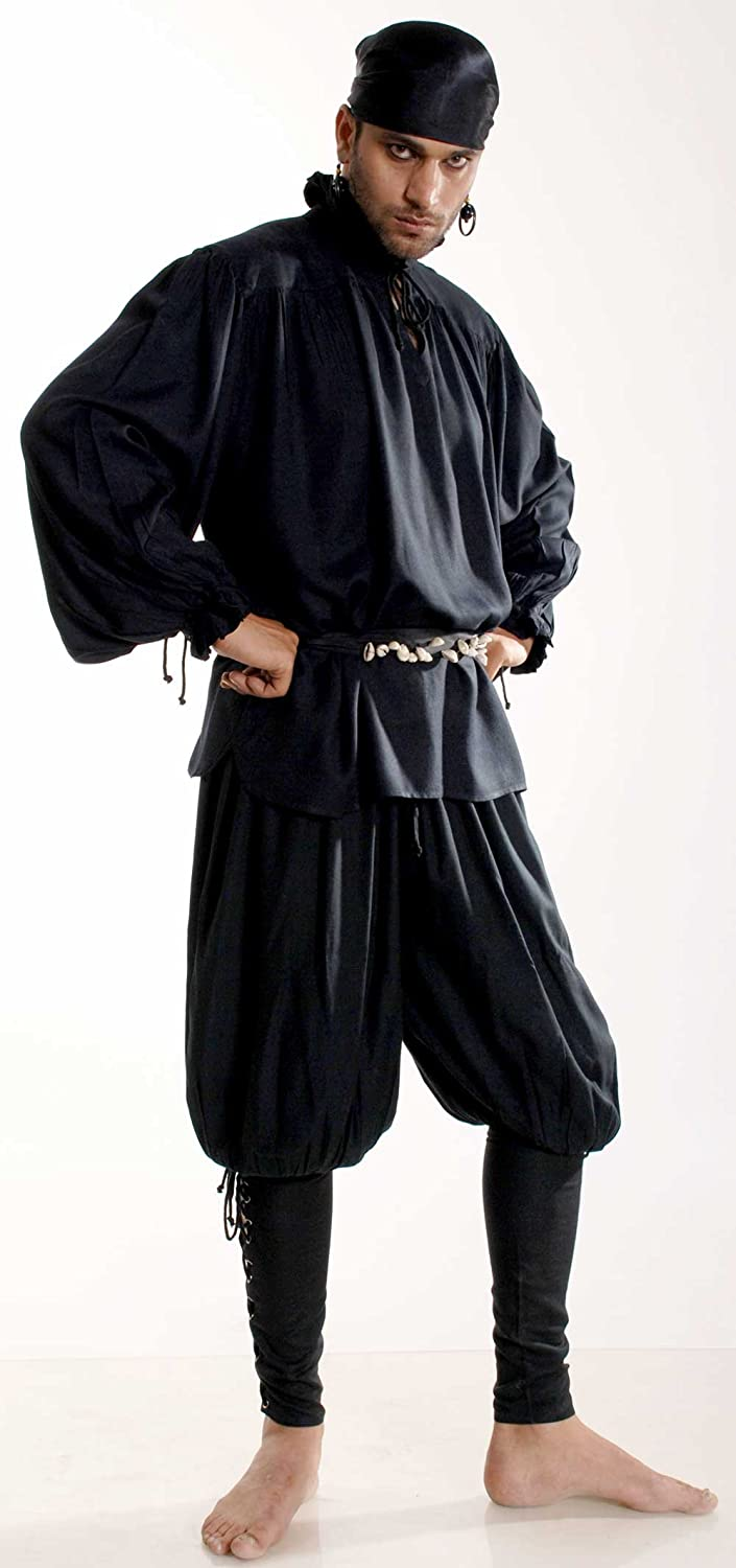 Pirate Captain Cottuy Black Pirate Pants Costume