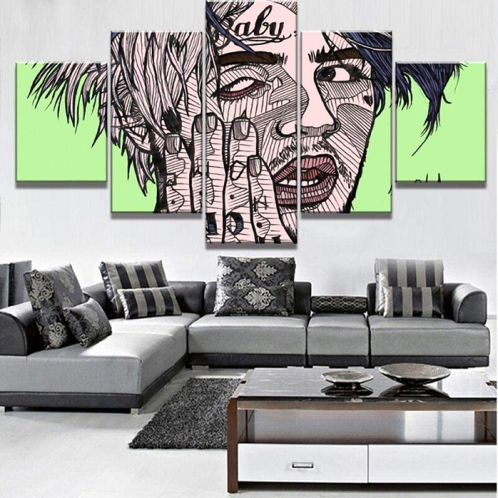5 Canvas Wall Art Paintings Creative Cartoon Boy 150X80Cm Modular High-Definition Printing 5Panel Landscape Poster Home Decoration Canvas Painting Living Room Wall Picture (ELL927)
