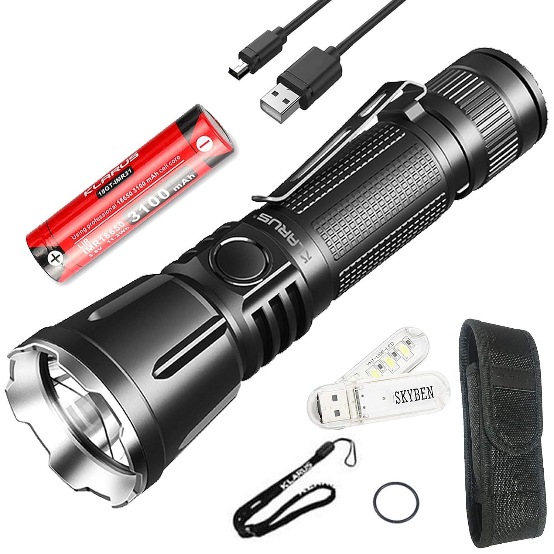 KLARUS 360X3 3200ルーメンハイ パワーLED懐中電灯 CREE XHP70.2 P2 LED搭載 充電式LED フラッシュライト 1 x 3100mA 18650充電 池付き アルミ合金製 LEDライト IPX8 防水 4段階切替+SOS+ストロボ