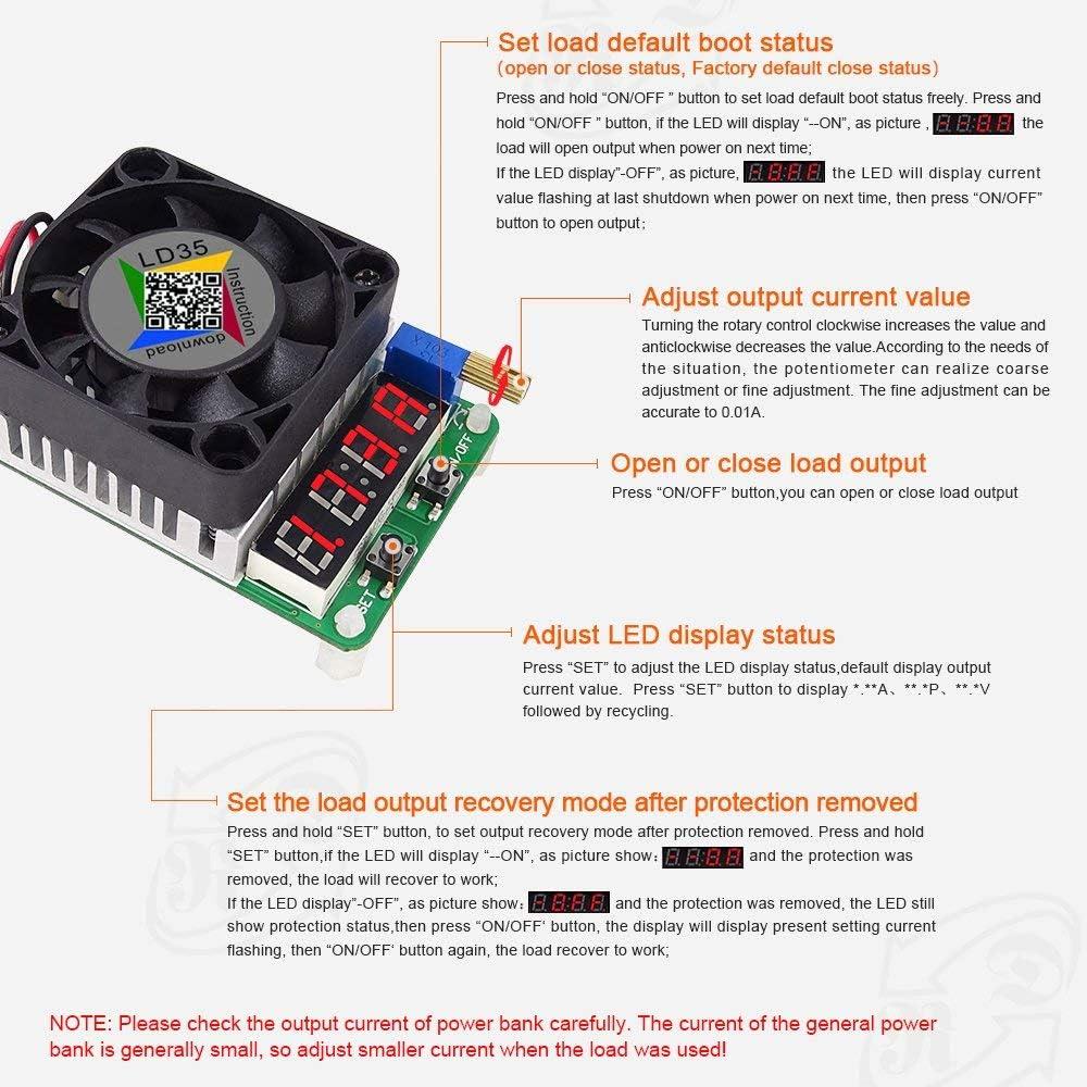 DollaTek Testeur de Charge USB Testeur de Charge /électronique Module de r/ésistance 35W LD35 Interface de d/écharge USB Temp/érature r/églable avec Ventilateur