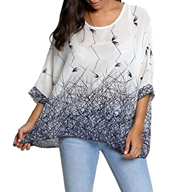 5d757a187b5bb S-MAN Womens Floral Loose Batwing Sleeve Bohemian Thin Chiffon Oversize Off  Shoulder Blouse Tunic