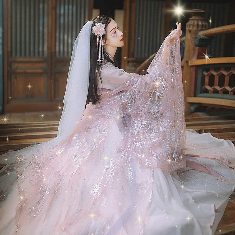 Amazon Com Women Hanfu Dress Chinese Traditional Fairy Princess Dresses Pink Hanfu Tang Dynasty Clothing Clothing