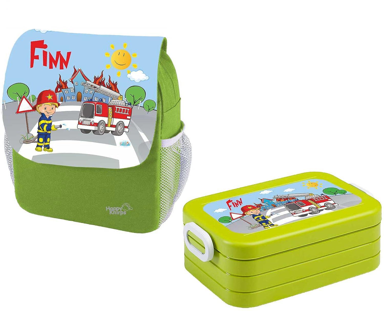 Mein Zwergenland Set 1 Kindergartenrucksack und Brotdose Maxi Happy Knirps Next Print mit Name Feuerwehr, 2-teilig, Grün