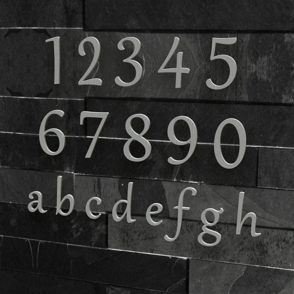 Schriftart: Klassisch Edelstahl H/öhe: 20-30 cm , 20 cm viele Farben w/ählbar Colours-Manufaktur Hausnummer Nr 4 geb/ürstet