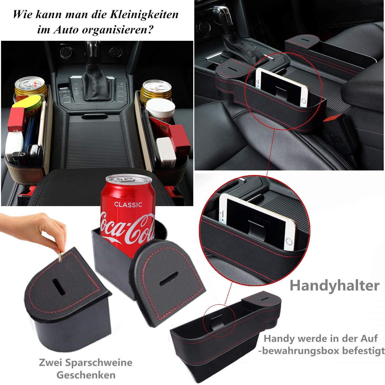 1//2 pieza de soporte de aparcamiento de piel sint/ética de alta calidad para asiento de coche bolsillos laterales organizador con compartimento para monedas Multifuncional caja para coche