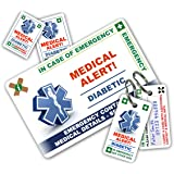 ICECARD DIABETES In Case of Emergency (I.C.E.) Card Pack with Key Rings & Stickers from WRITABLE reverse for Emergency Contact & Medical Info. 2 Versions - DIABETIC & TYPE 1 DIABETIC
