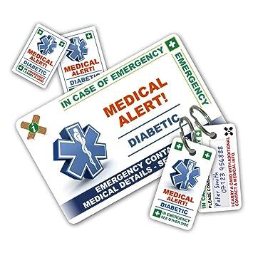 En caso de emergencia (I.C.E.) tarjeta con llaveros y pegatinas de ...