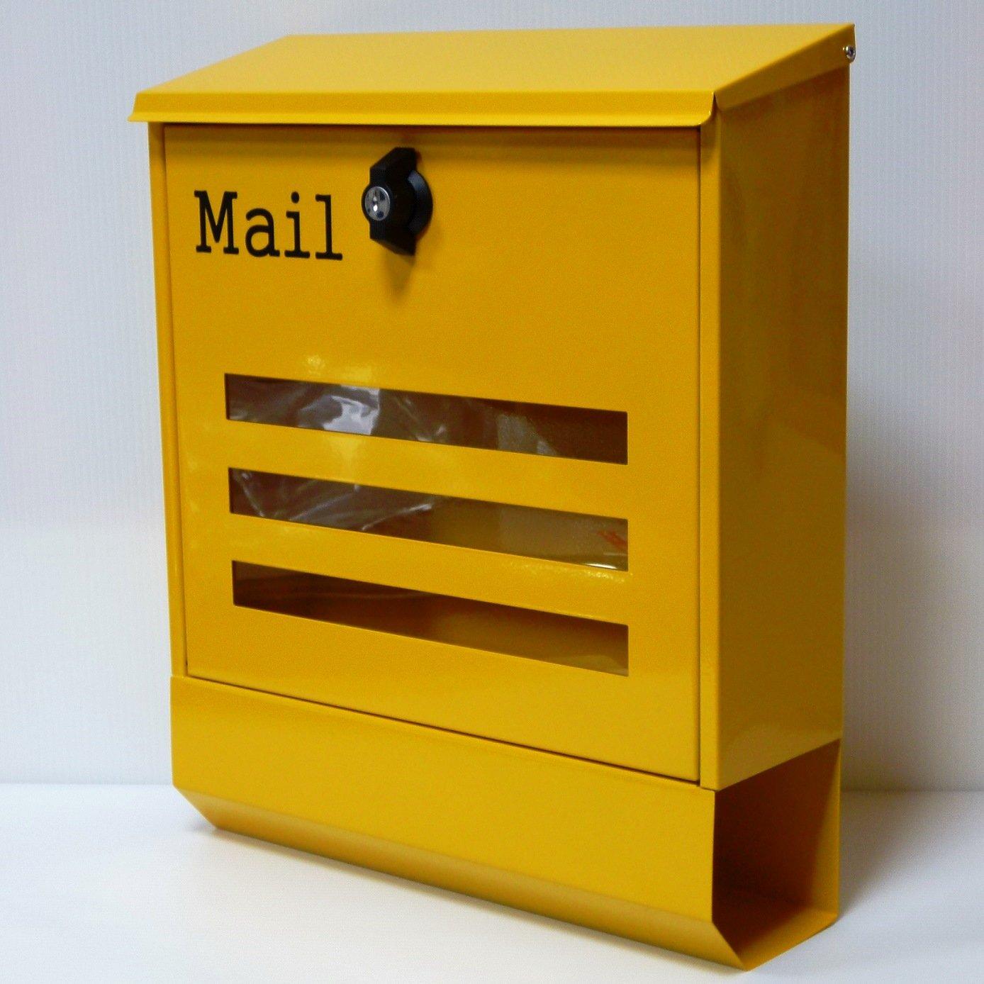 郵便ポスト郵便受け北欧風大型メールボックス 壁掛けプレミアムステンレス黄色ポストpm144 B071LJB6GT 12880