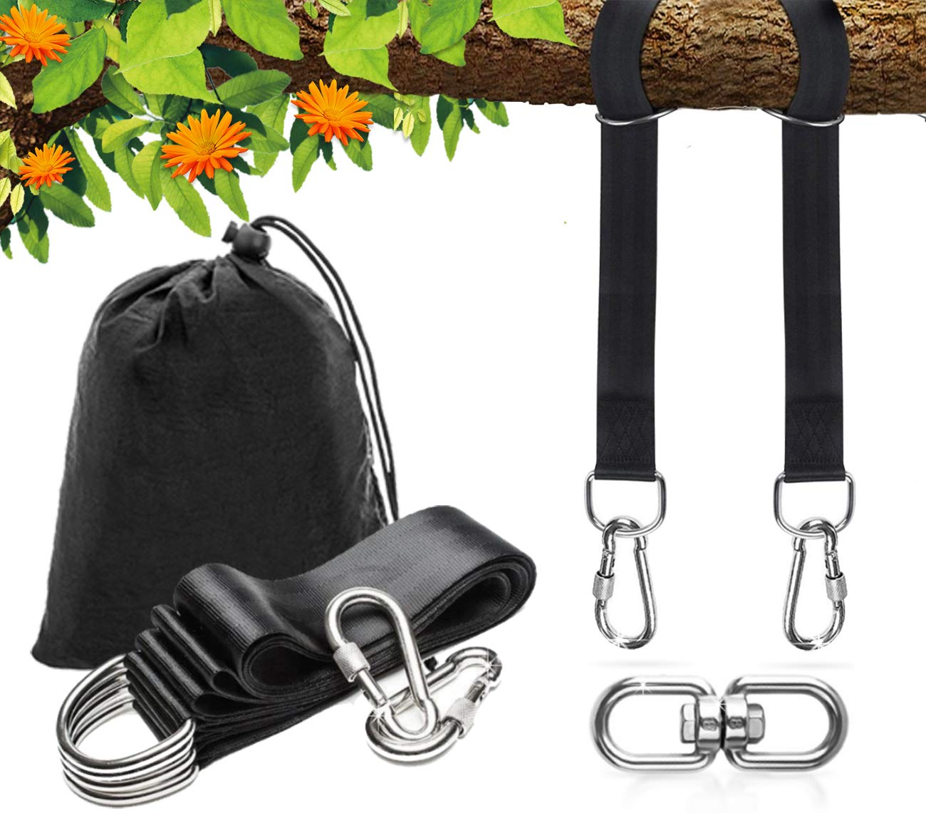SIMBILA Tree Swing Hanging Straps Kit Holds 2200 lbs,Two Straps 5ft Extra Long & Ultra Safe - Includes Carabiner with Safety Lock Mechanism and 360 Degrees Swivel - SGA Certified - Easy Fast Install