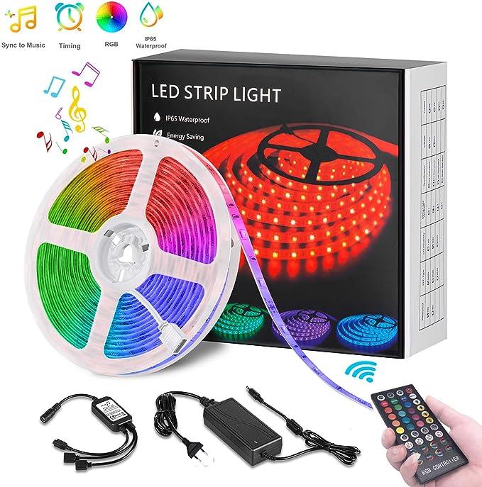LED Strip, LED Streifen 5M RGB Sync mit Musik, Timerfunktion, Dimmbar lichterkette 150 leds SMD5050 IP65 Wasserdicht mit 40 Tasten Fernbedienung, Deko