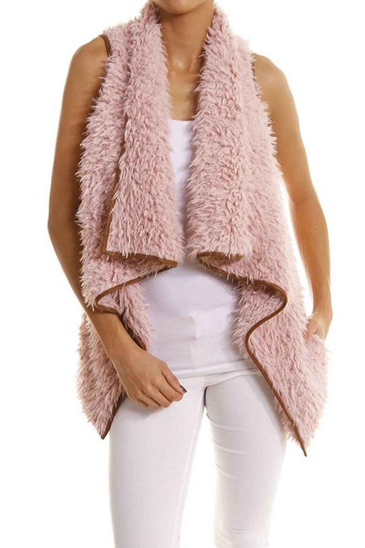 YACUN Women Faux Fur Vest Waistcoat Gilet Open Front Coat Outwear CAYXMzy9929