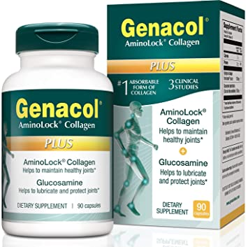 GENACOL Plus Glucosamine & Hydrolyzed Collagen Joint Supplement for Men & Women (90 caps) | Colageno Hidrolizado Pills for Joint Relief and Mobility