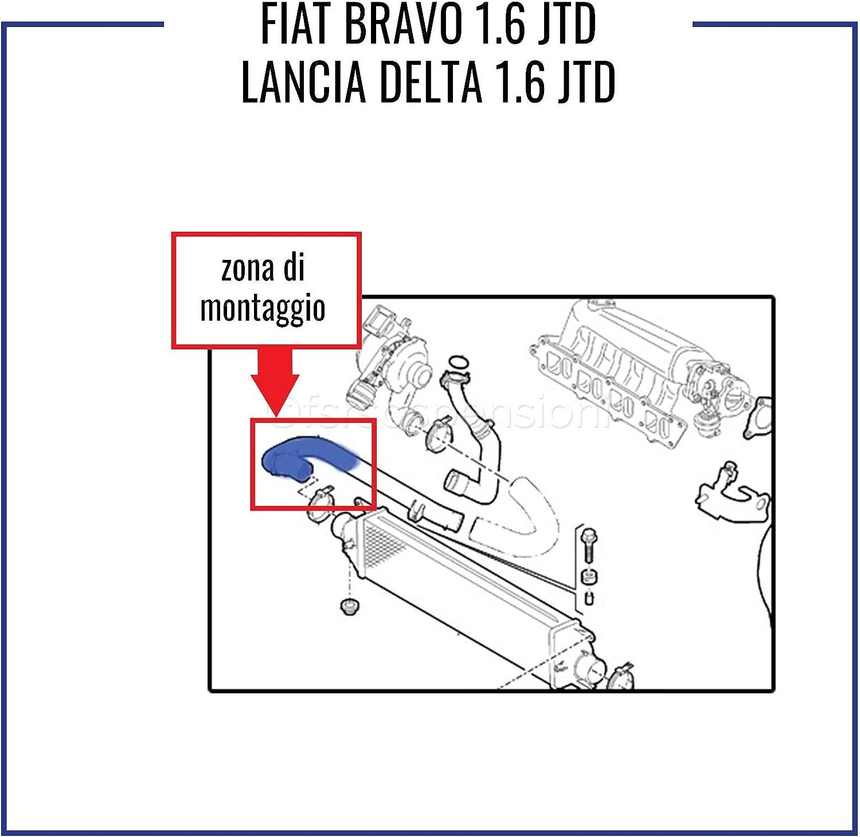 F I A T BRAVO L A N C I A DELTA 1.6 JTD MANICOTTO INTERCOOLER TUBO TURBO AIRE 51842990