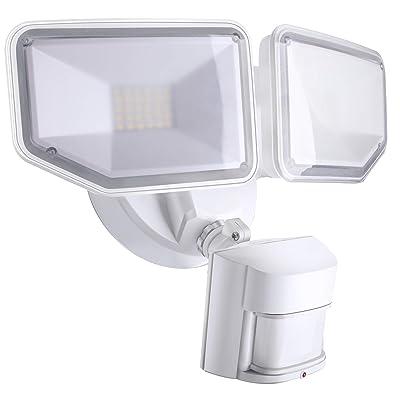 AIDEL 40W LED Flood Light, Motion Sensor Security Light Outdoor, 4000 Lumens 5000K Daylight White IP65 Waterproof, ETL Certified 2 Adjustable Heads White Flood Lights Outdoor