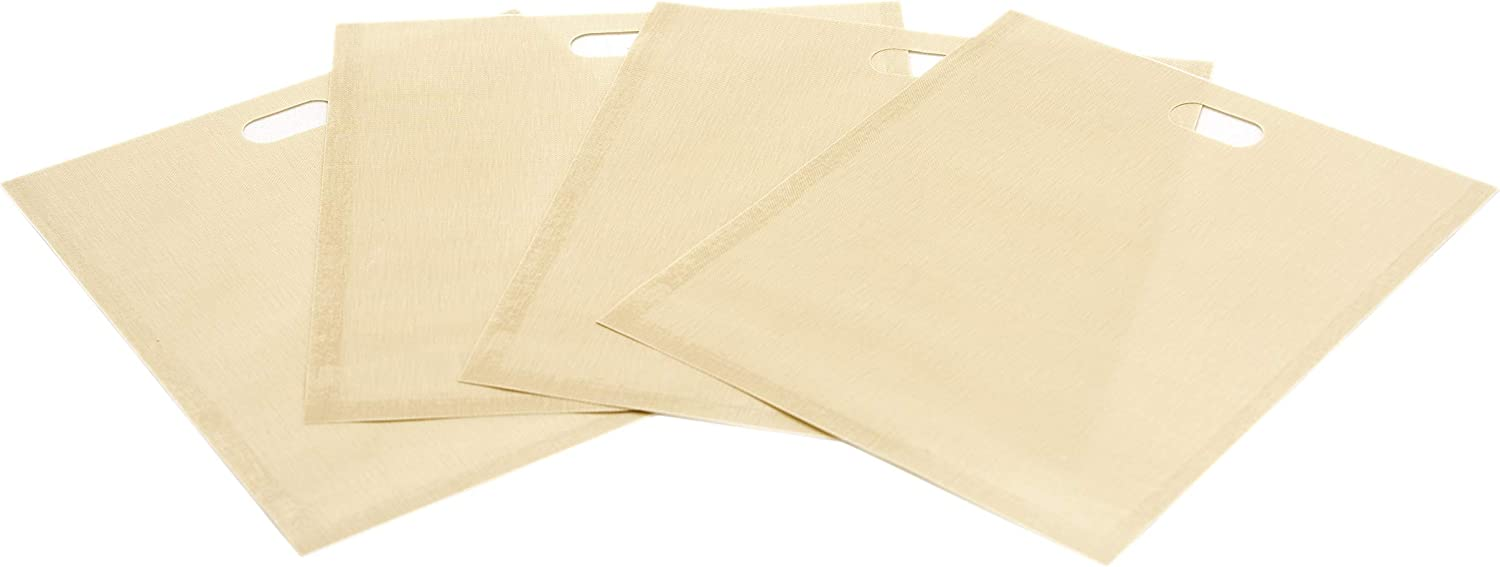 CooksInnovations Reusable Toaster Bags - 4 Pack Non Stick Non Porous Teflon Toaster Bags for Grilled Cheese Sandwiches, Pizzas, Sausage Rolls, Chicken Nuggets, Paninis, Bacon Strips - BPA & PFOA Free