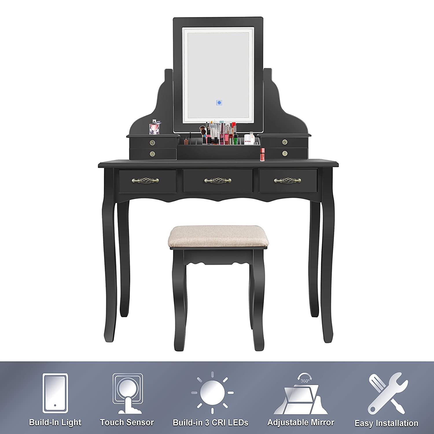 ENSTVER LED Vanity Table,7 Drawers Makeup Dressing Table with Cushioned Stool-Black