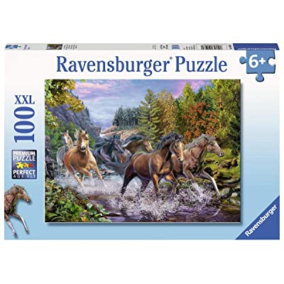 """Ravensburger 10403 Rushing River Horses, 100 Piece Puzzle for Kids, Every Piece is Unique, Pieces Fit Together Perfectly, Multicolor, 19.5"""" x 14.25"""": Toys & Games"""