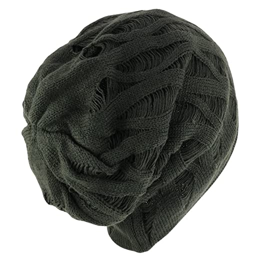 f8ef138370add Amazon.com  Rasta Deep Crown Acrylic Distressed Reversible Slouchy Warm  Beanie Hat - BEIGE  Clothing