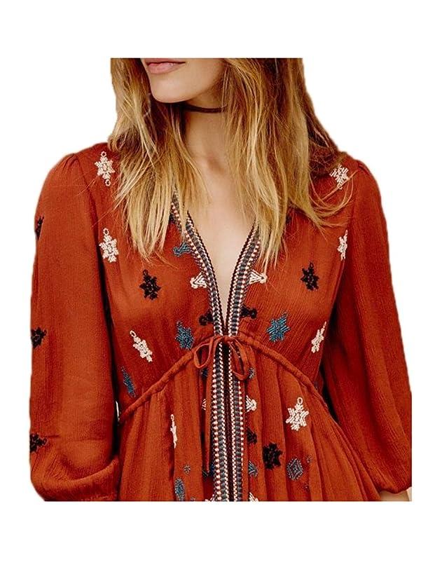 Amazon.com: Paule Trevelyan New hot bohemian vestidos meia manga bordado teste padrão de flor de algodão vestido elegante vestidos boho chic mini vestido ...