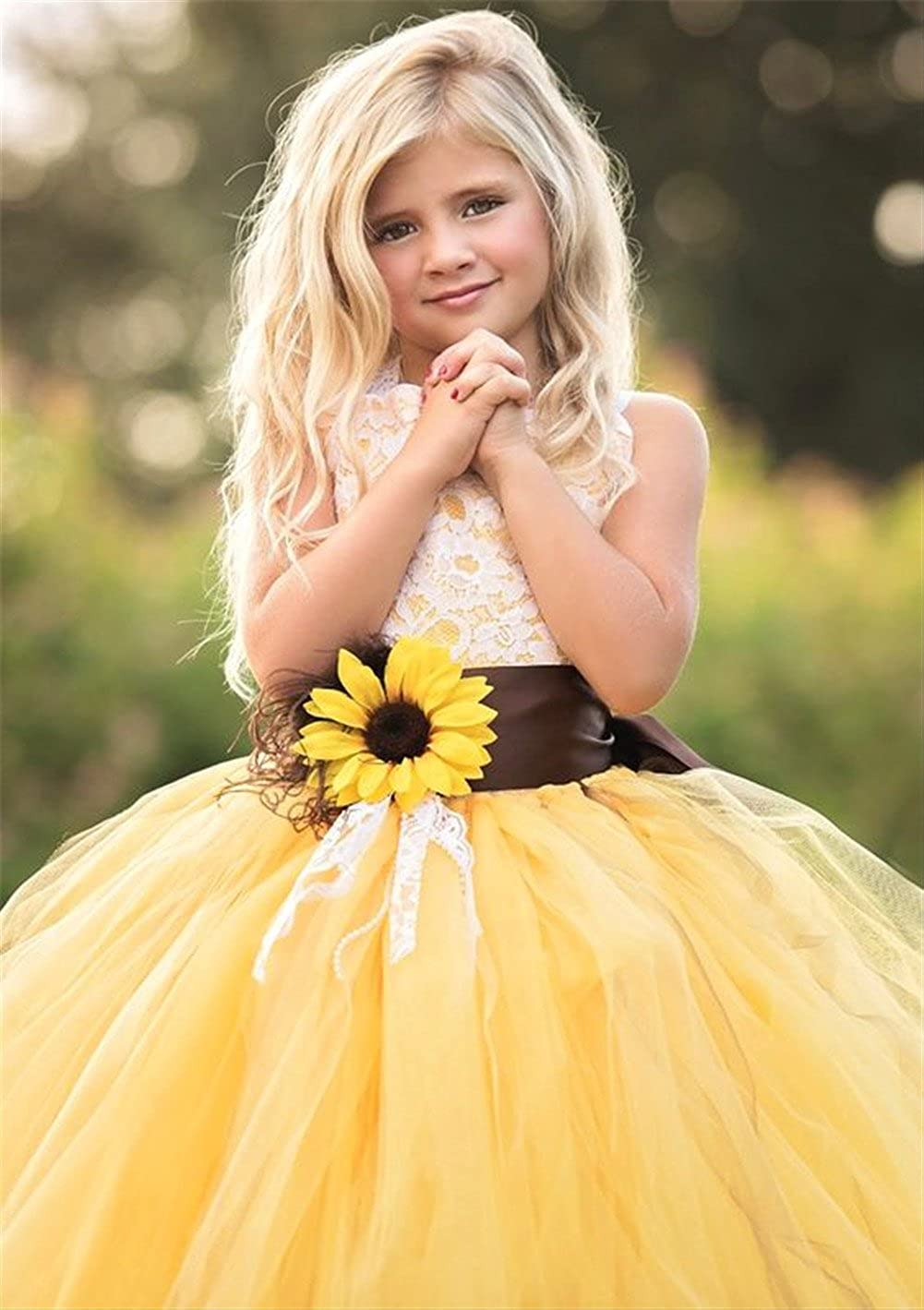 a8e30e1f6 Amazon.com: AnnaLin Yellow Tulle with Sunflower Belt Flower Girl Dress for  Wedding Party First Communion Dress for Girls: Clothing