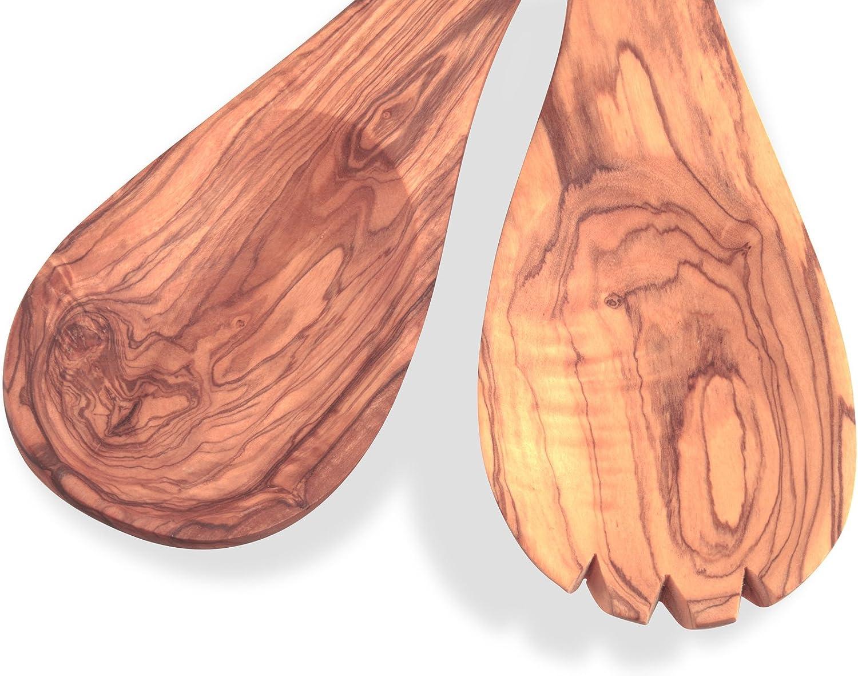 25 cm Couverts en bois d/'olivier pour salade avec large poign/ée aux propri/ét/és antibact/ériennes Bois