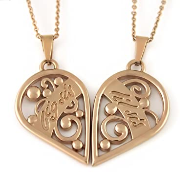 Amazoncom Big Sister Little Sister Necklace Rose Gold Heart