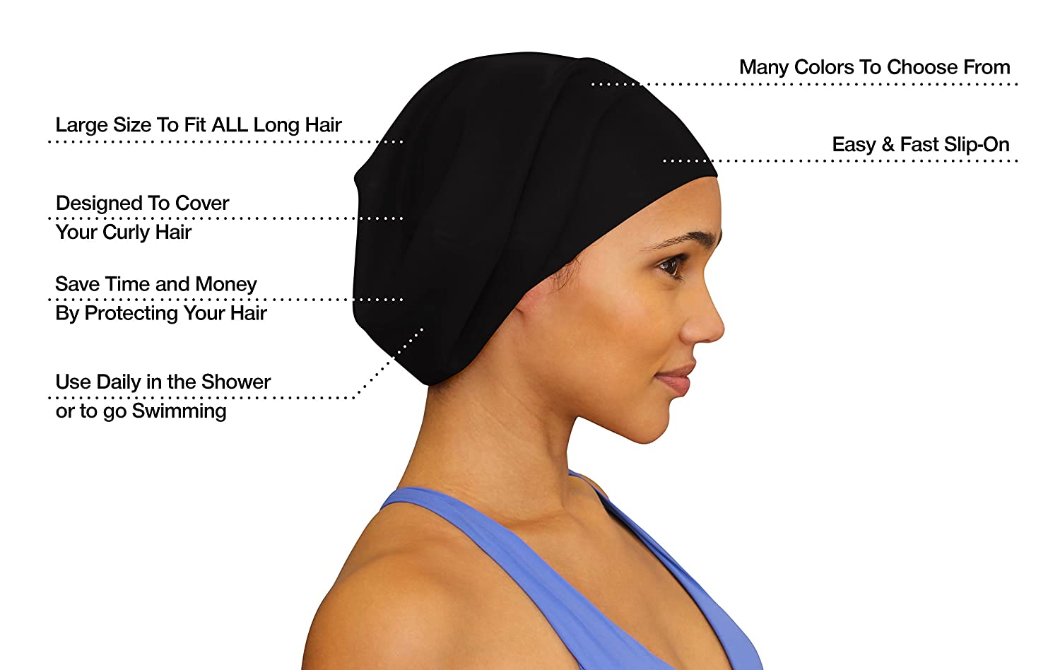 Amazon swim on waterproof silicone swim cap large black amazon swim on waterproof silicone swim cap large black sports outdoors pmusecretfo Images