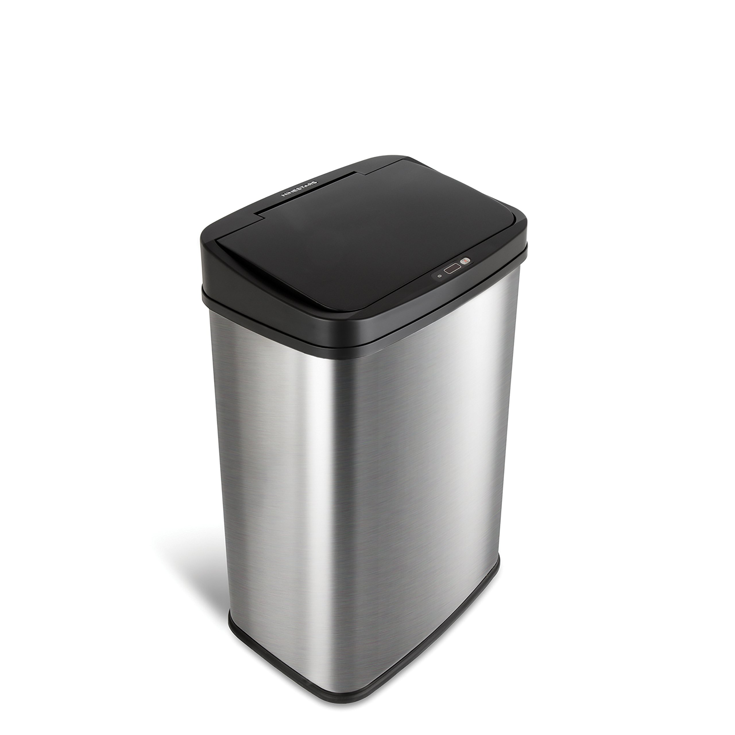 NINESTARS DZT-50-28 Automatic Touchless Infrared Motion Sensor Trash Can, 13 Gal 50L, Stainless Steel Base (Rectangular, Black Lid)