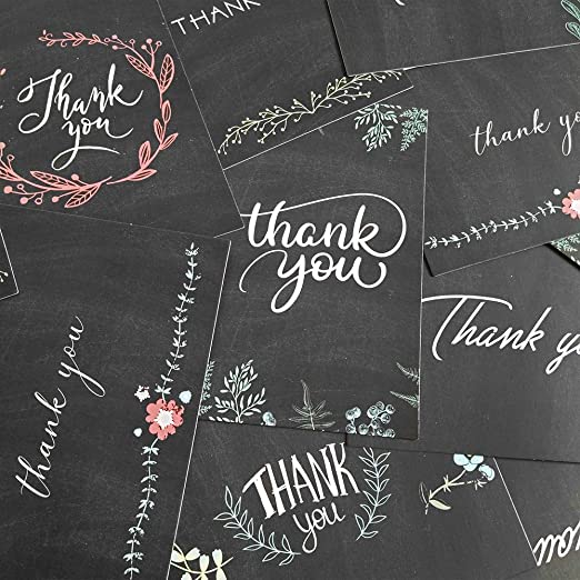 Supla 150 Sets Thank You Cards with Envelopes Stickers Bulk Thank You Notes 6 Designs of Chalkboard Floral Thank You Note Cards Vintage Blank Thank ...
